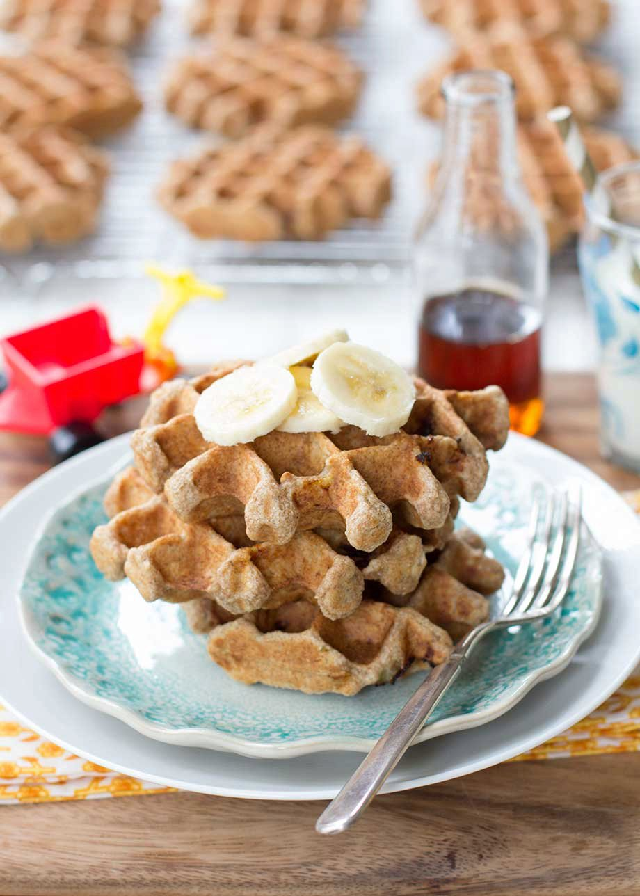 Whole Grain Banana Oatmeal Waffles