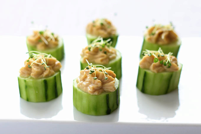 Cucumber Hummus Bites with Chia Sprouts