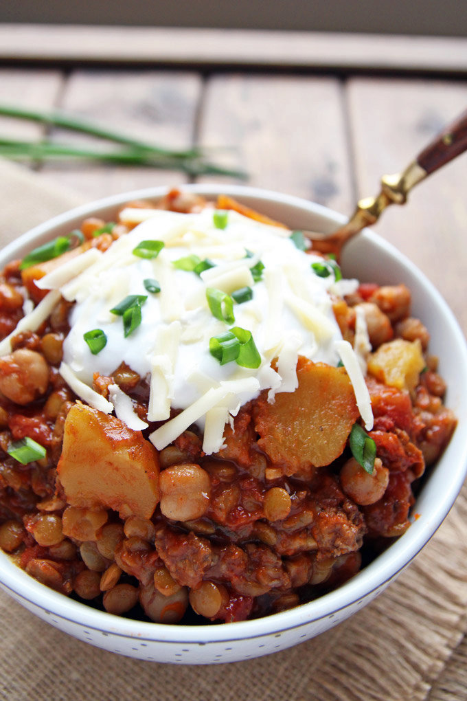 Slow Cooked Chili with Chickpeas Lentils + Squash