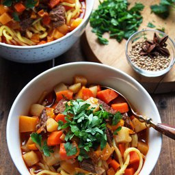 Feel Good Spicy Ramen With Sweet Potatoes And Crispy Shallots