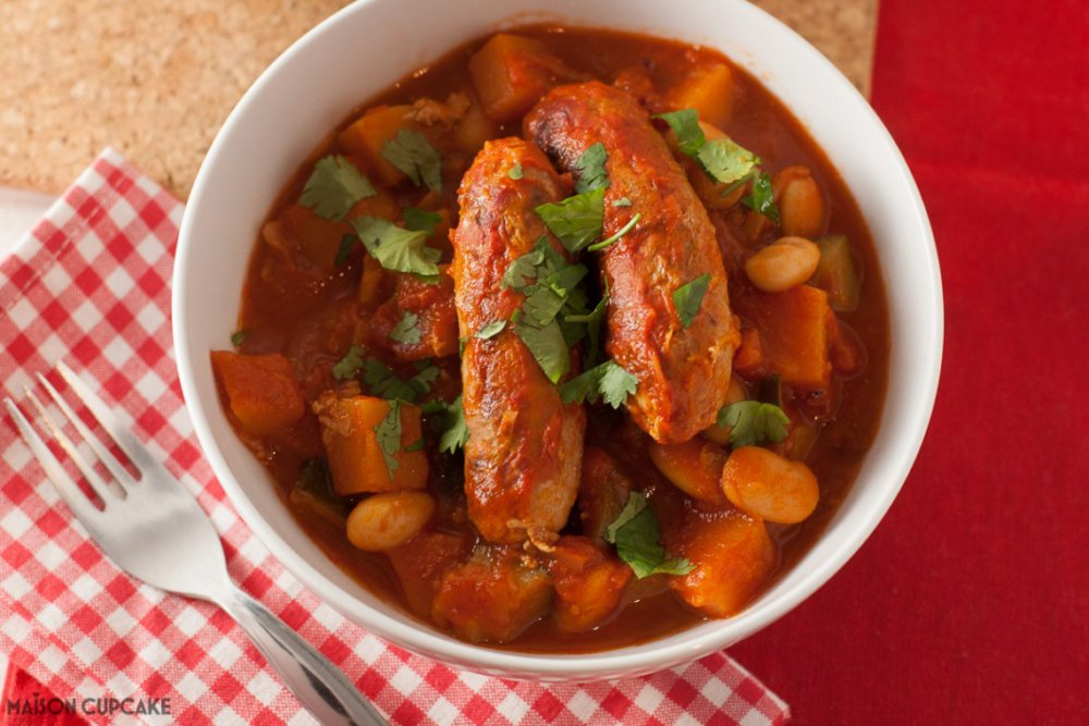 Low Fat Sausage and Bean Casserole