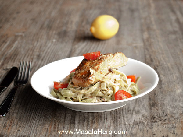 30 Minutes Pan-Fried Salmon in White Wine Sauce with Tagliatelle Pasta Recipe