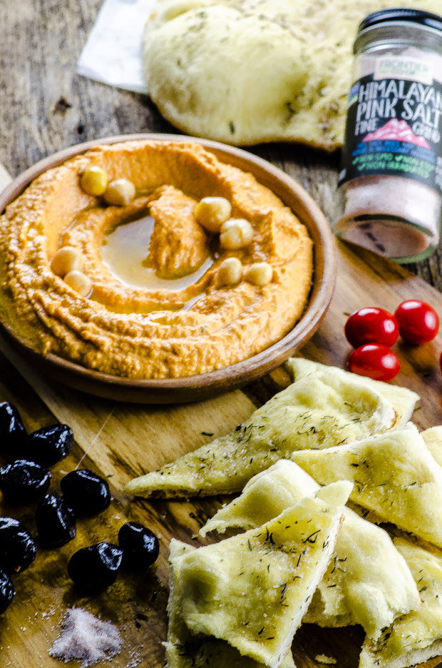 Red Pepper and Harissa Hummus with Grilled Flatbread