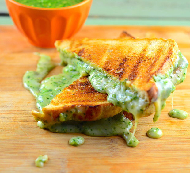 Super Gooey Vegan Grilled Cheese With Roasted Tomatillo Salsa