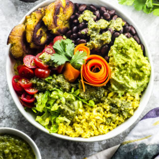 Yellow Rice Burrito Bowl with Tostones and Tomatillo Salsa