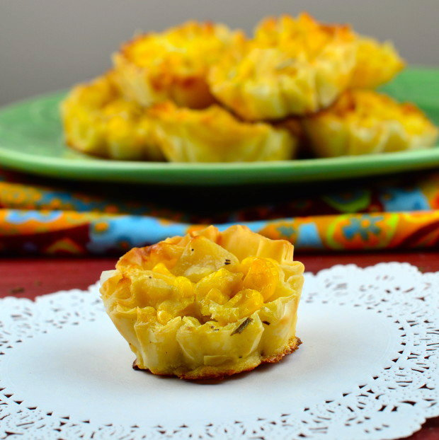 Goat Cheese Corn and Pear Cups