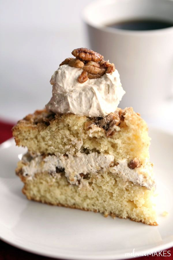 Candied Pecan Sour Cream Coffee Cake with Eggnog Cream Filling