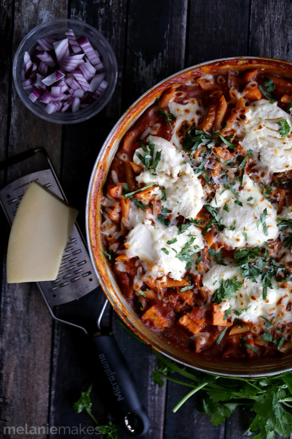 Barbecue Chicken Pizza Skillet Lasagna