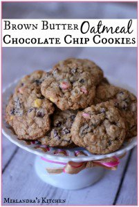 Brown Butter Oatmeal Chocolate Chip Cookies with Springtime Chips