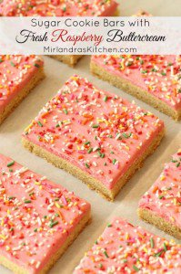 Sugar Cookie Bars With Raspberry Buttercream
