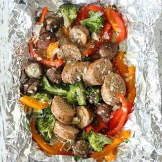 Grilled Sausage and Vegetable Foil Packets {Gluten-free with dairy-free option}