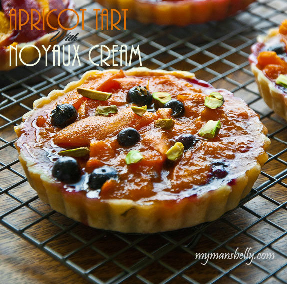 Blueberry and Apricot Tart with Noyaux Cream