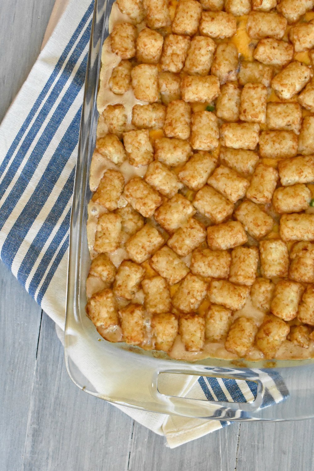 Super easy and Cheesy tater tot casserole