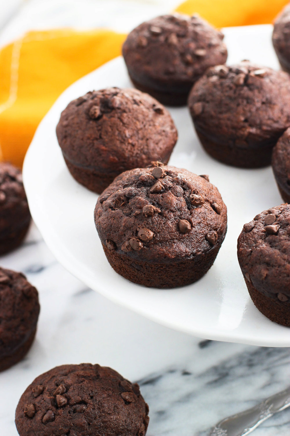 Chocolate Pudding Muffins with Bananas
