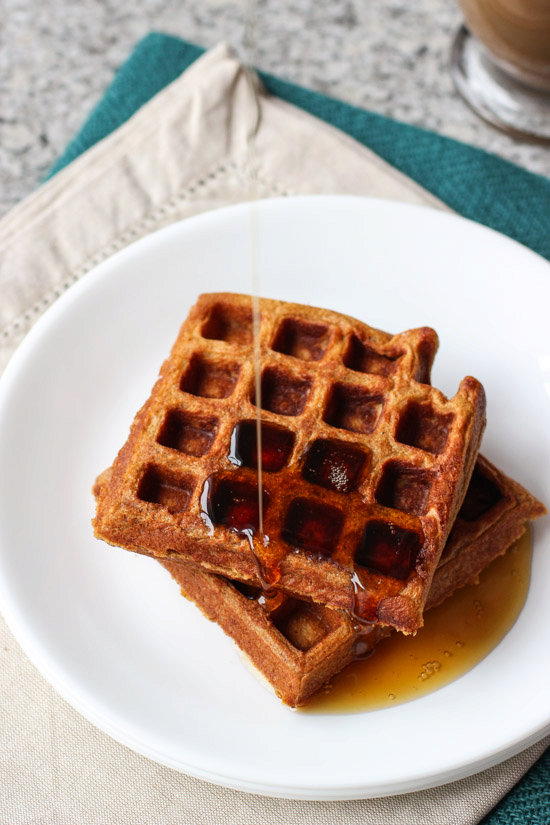 Crisp and Fluffy Whole Wheat Gingerbread Waffles