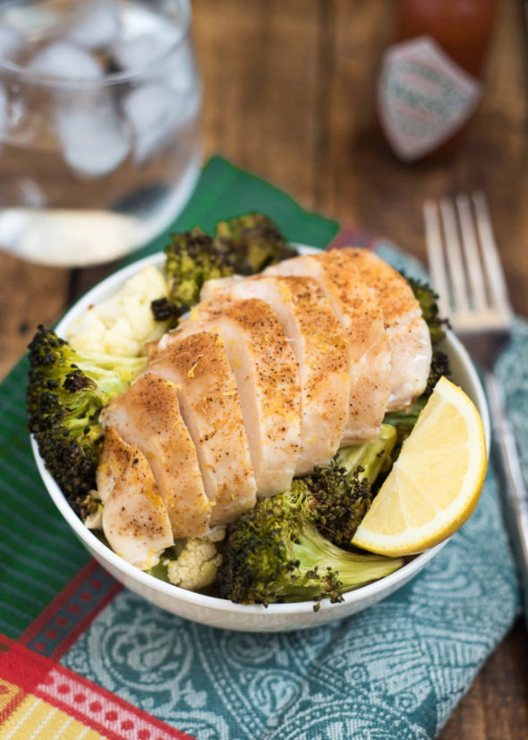 One Pan Cajun Spiced Lemon Chicken and Vegetables