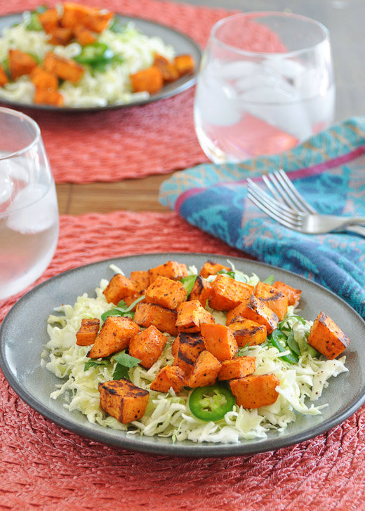 Chipotle Roasted Sweet Potato and Cabbage Salad with Lime Dressing