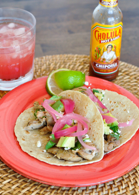 Chicken Tacos with Pickled Onions and Feta