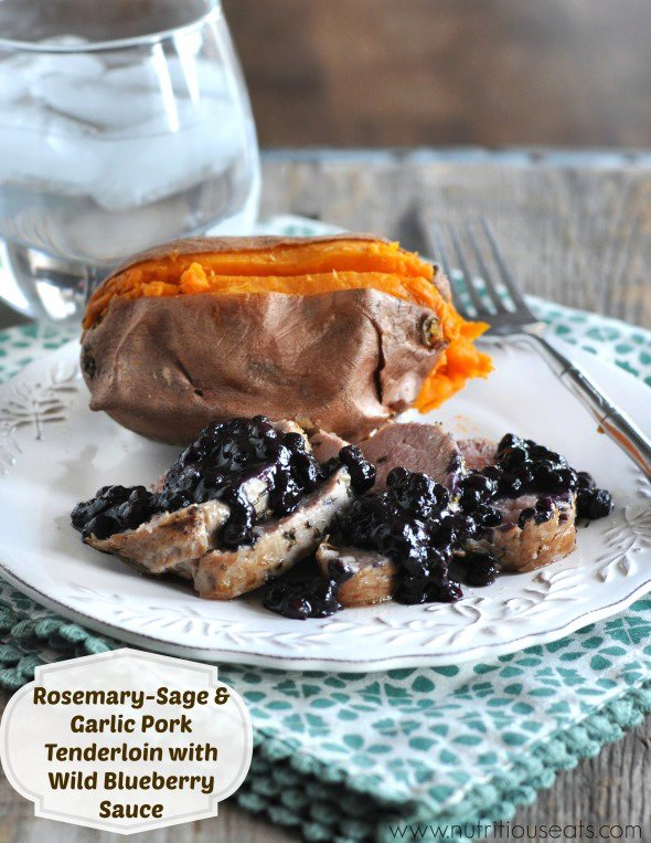Rosemary-Sage and Garlic Pork Tenderloin with Wild Blueberry Sauce