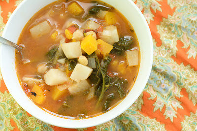 Farmer's Soup with Turnips, Spinach and Butternut Squash