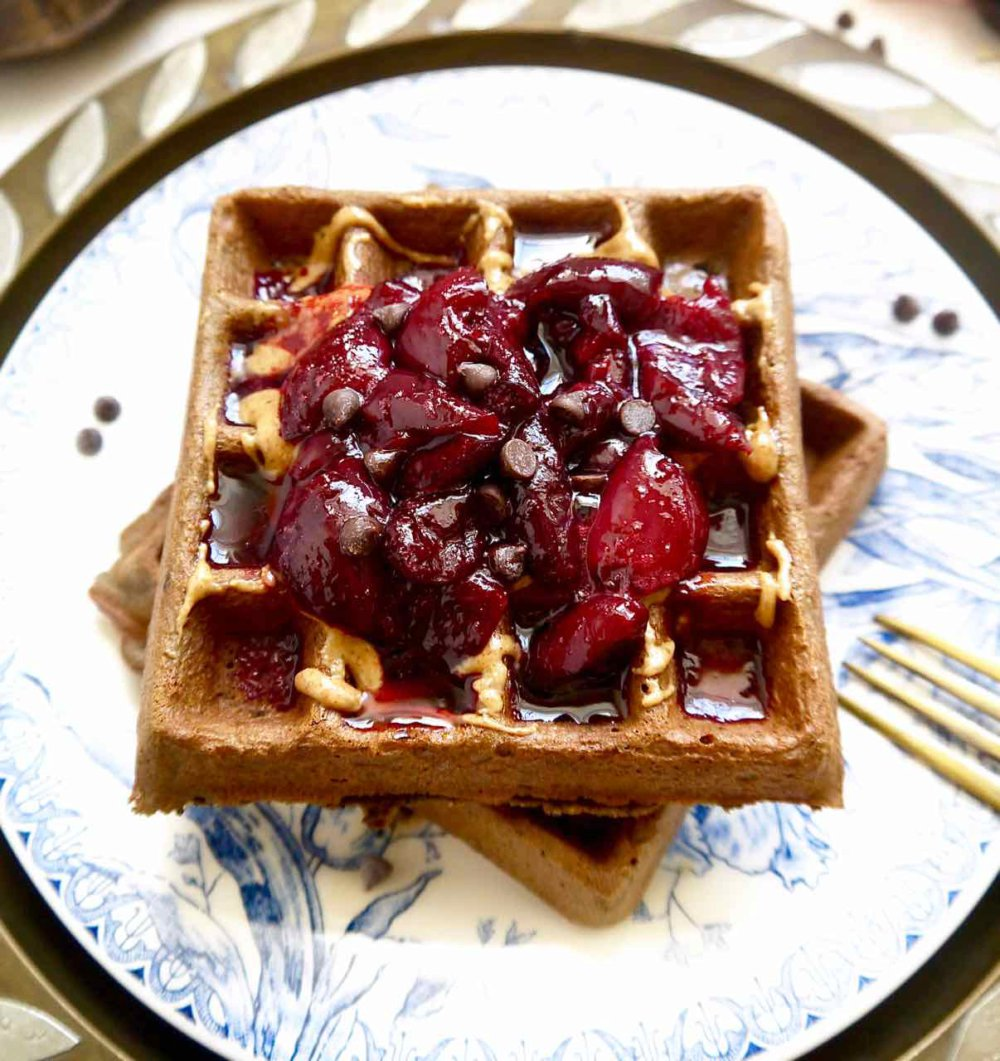 Cherry Chocolate Waffles with Cherry Compote {Paleo, GF}