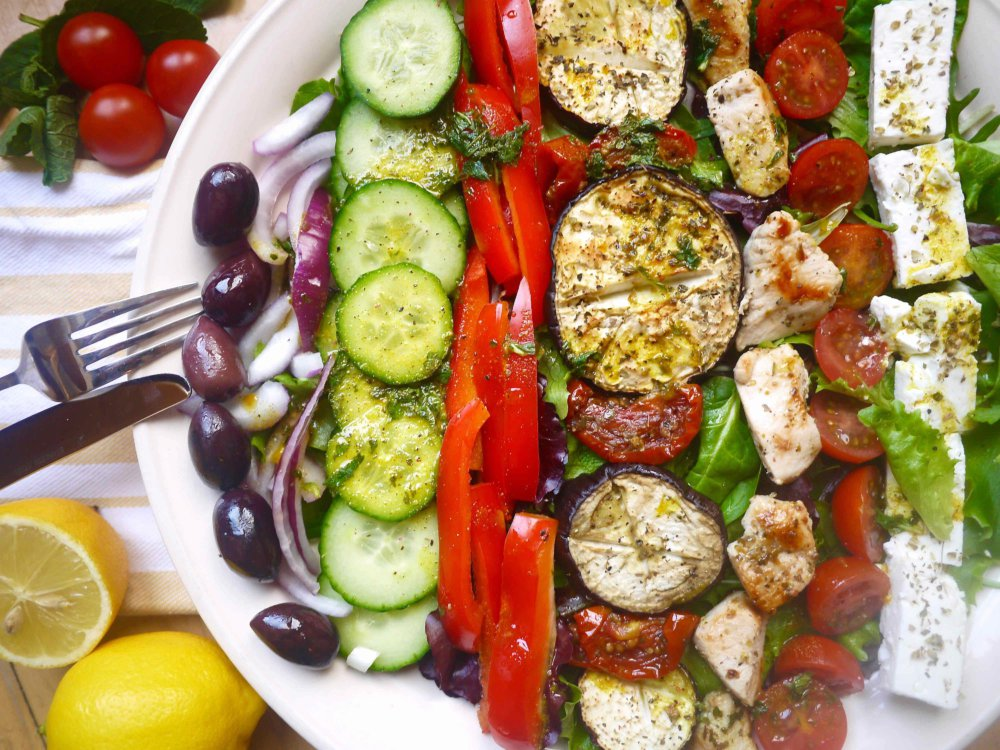 The Ultimate Grilled Chicken Greek Salad with Lemon, Mint, Turmeric Dressing (paleo, GF)
