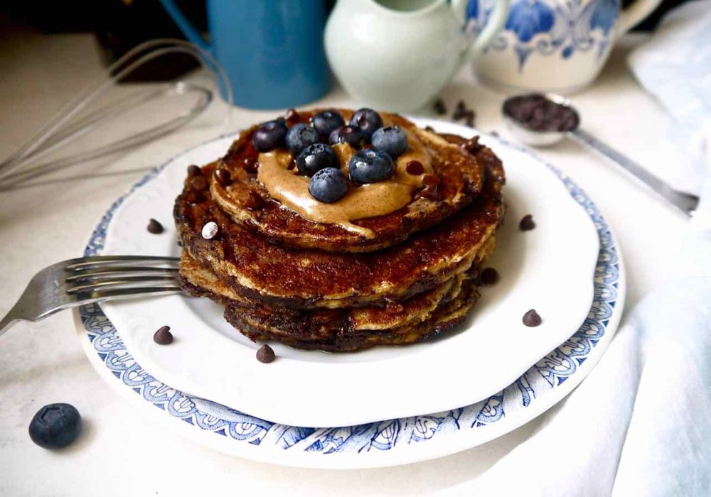 Paleo Chocolate Chip Banana Pancakes (GF)