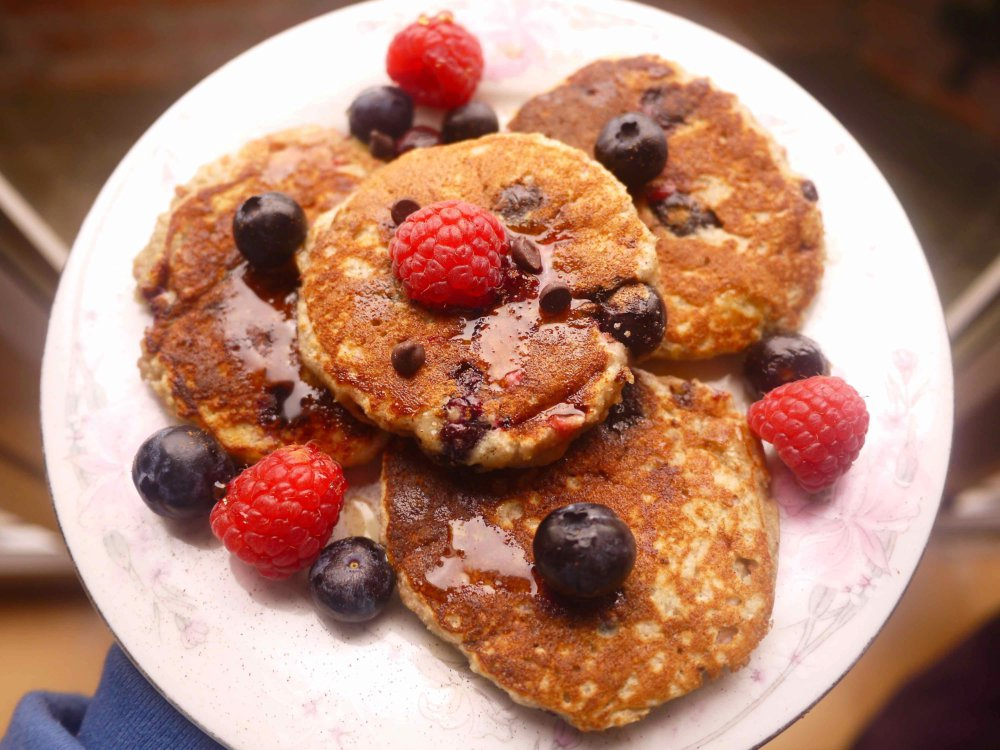 Raspberry, Blueberry, and Chocolate Chip Paleo Pancakes (GF)