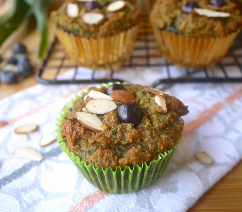 Grain-free Blueberry-Banana Kale Muffins