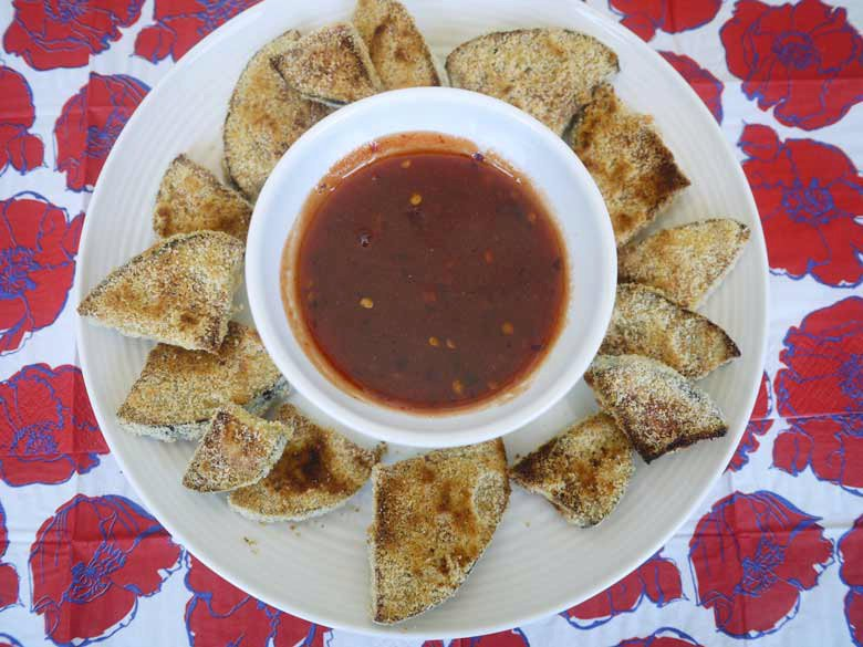 Crispy Baked Eggplant with Sweet and Spicy Dipping Sauce (Paleo)