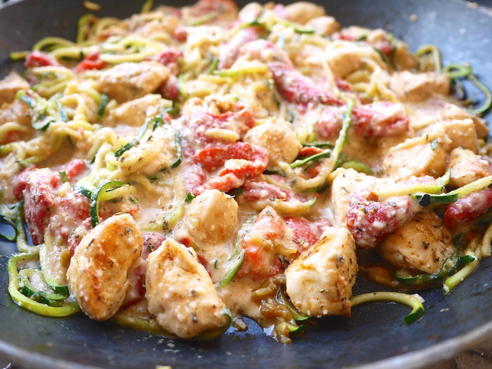 Creamy Roasted Red Pepper Sauce with Chicken and Zoodles (paleo, GF)