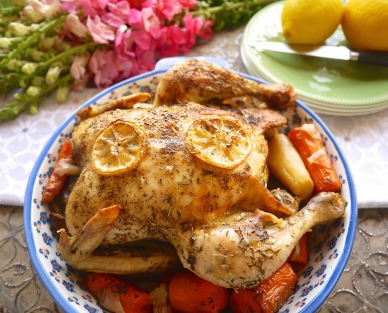 Thyme Infused Roasted Chicken +Root Veggies