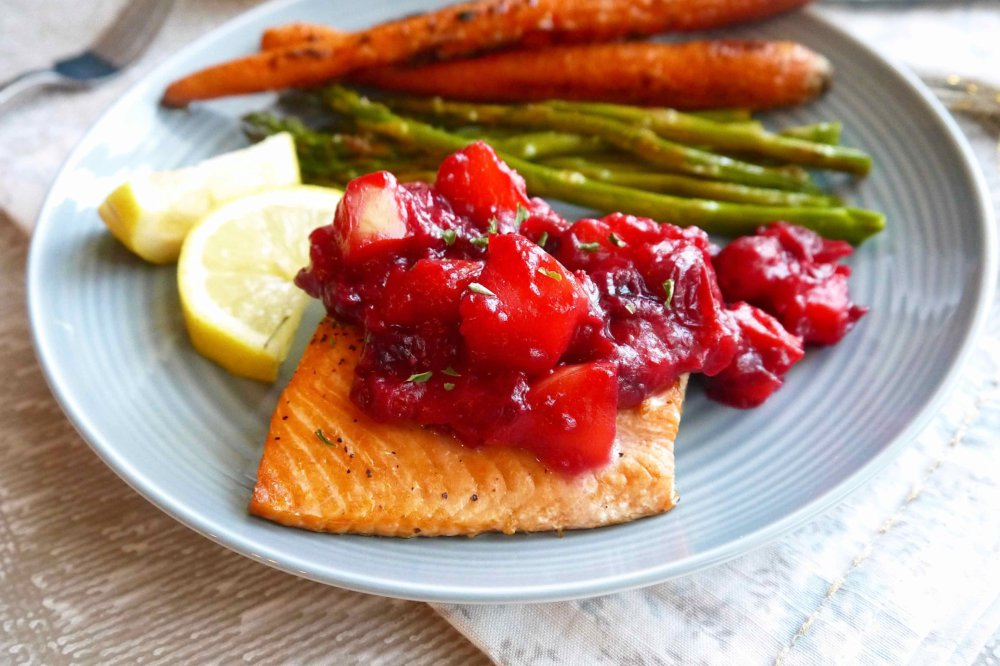 Broiled Salmon with Apple Cranberry Compote (Paleo, GF)