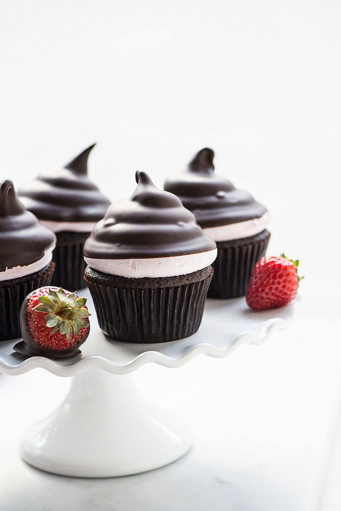 Chocolate Dipped Strawberry Hi Hat Cupcakes (Gluten Free)