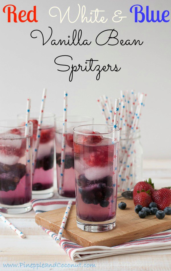 Red, White and Blue Vanilla Bean Spritzers (non-alcoholic) for 4th of July #Holidayfoodparty