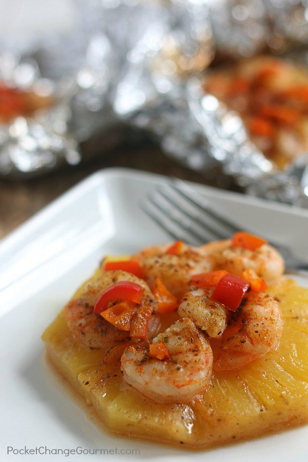 Pineapple and Shrimp Foil Packets