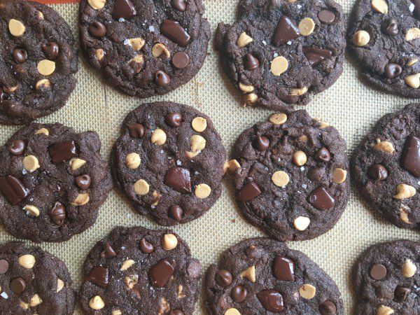 TRIPLE CHOCOLATE PEANUT BUTTER CHIP COOKIES