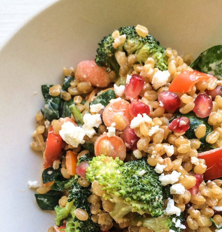 WHEAT BERRY SALAD WITH BROCCOLI, POMEGRANATE AND TAHINI DRESSING