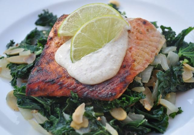 Moroccan Salmon with Braised Kale