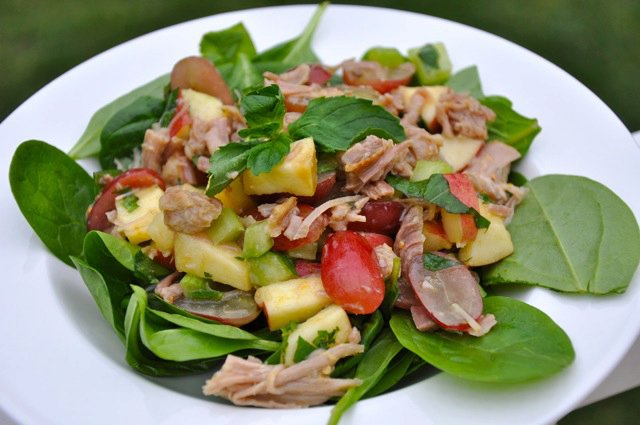 Chicken Fruit and Spinach Salad
