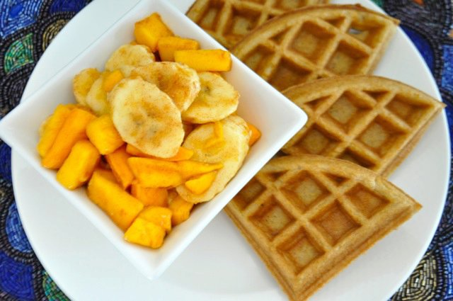 Real Healthy Waffles with Tropical Fruit Topping