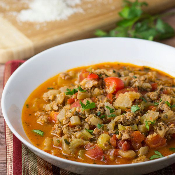 Sausage Stew with Eggplant and Celery