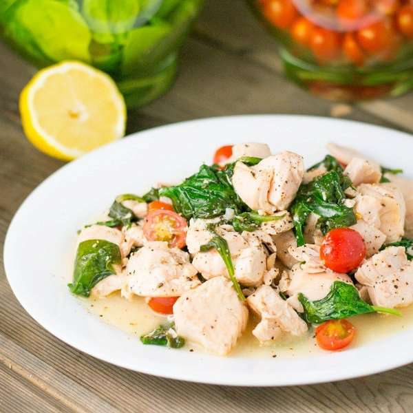 Salmon Scampi with Spinach and Tomatoes