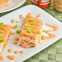 Baked Salmon Teriyaki with Sriracha Cream Sauce