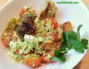 Lamb And Sausage Orzo Salad With Minty Pesto And Grilled Artichoke Hearts