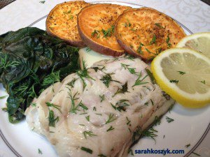 Baked Fish In Tinfoil Packets with Spinach and Roasted Sweet Potatoes