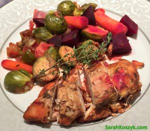 Crockpot Marinated Chicken with Beets and Brussels Sprouts