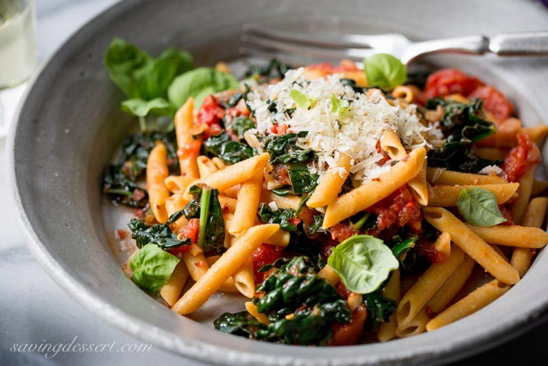 Spicy Pomodoro Sauce with Kale & Penne Pasta