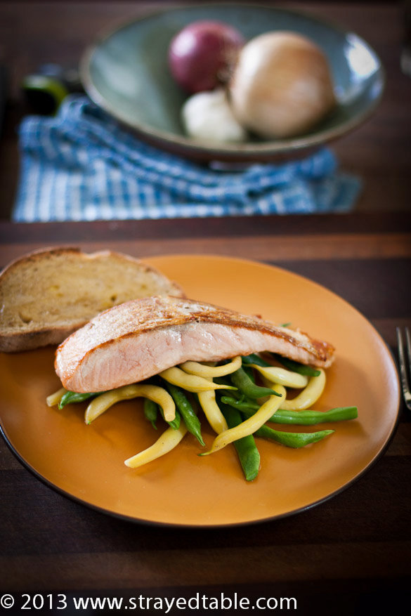 Seared Salmon with Garden Beans