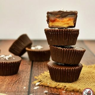 Chocolate Peanut Butter Cups with Salted Bourbon Caramel